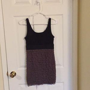 Black and brown mini ruffle dress